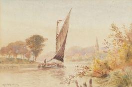 "William Leslie Rackham (1864-1944), ""Thorpe from Whitlingham"", watercolour, signed lower left, 15"