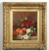 Eloise Harriet Stannard (1828-1915), Still Life study of raspberries, peaches and white flowers on a