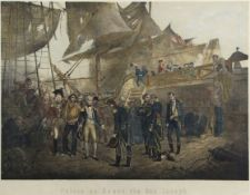 "After Thomas J Barker, ""Nelson on board The San Joseph"", hand coloured lithograph, 45 x 63cm"