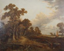 Joseph Paul (1804-1887), Extensive landscape with figures, cottage and distant windmill, oil on