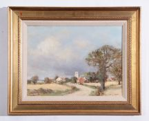 "AR Owen Waters (1916-2004), ""A Suffolk Village (Shadingfield)"", oil on board, signed lower right and"