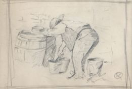 •AR Sir Alfred James Munnings, PRA, (1878-1959), The pig man, pencil drawing , 9 x 14cm Note: this