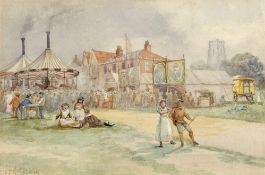 Charles Harmony Harrison (1842-1902), Fairground before the Lion Pub, watercolour, signed lower