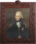 English School (20th century), Portrait of Lord Nelson, coloured print, 51 x 41cm, in heavy carved