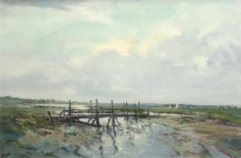 •AR Jack Cox (1914-2007), North Norfolk estuary with stick bridge, oil on board, signed lower