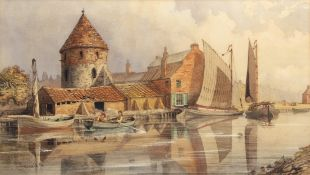 Charles Harmony Harrison (1842-1902), Wherries at Yarmouth, watercolour, signed and dated 1874 lower