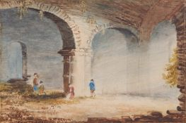Circle of John Sell Cotman, Figures amongst a ruin, watercolour, 10 x 14cm