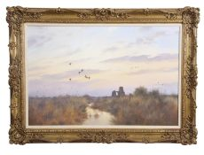 •AR Colin W Burns (born 1944), St Benet's Abbey, oil on canvas, signed lower right, 50 x 75cm
