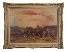 "•AR Arthur Edward Davies, RBA, RCA (1893-1988), ""View of Norwich"", oil on board, signed lower"