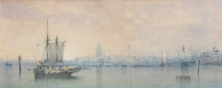 William Philip Barnes Freeman (1813-1897), View of Yarmouth, watercolour, 17 x 41cm. Provenance: