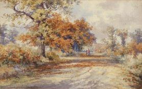 "Stephen John Batchelder (1849-1932), ""Along the shadowed way"", watercolour, signed lower left,"