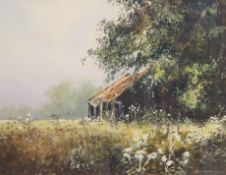 •AR Michael J Sanders (born 1959), Old Barn, watercolour, signed lower right, 34 x 44cm. Provenance: