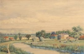 Victor Woodhouse (19th/20th century), View of Buxton Mill and Cottages, watercolour, signed lower