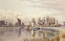 Stephen John Batchelder (1849-1932), Broads scene with wherries, watercolour, signed lower left,