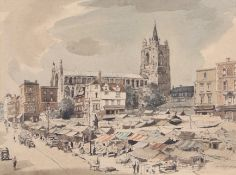 AR Arthur Edward Davies, RBA, RCA (1893-1988), Norwich market place with St Peter Mancroft church,