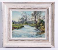 Wilfred Stanley Pettitt (1904-1978), River Landscape, oil on board, signed lower right, 22 x 27cm