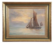 "Shirley Carnt (contemporary), ""Evening light off Harwich, Sept 1988"", oil on board, signed lower"