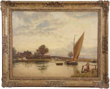 "Robert Bagge Scott (1849-1925), ""Acle Bridge"", oil on canvas, signed lower left, 42 x 55cm."