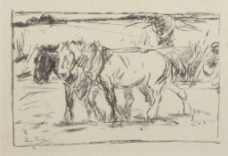 Harry Becker (1865-1928), Heavy horses, 1914, black and white lithograph, 15 x 24cm