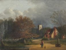 "John Berney Ladbrooke (1803-1879),""Trowse Church and Common"", oil on canvas, 16 x 21cm."