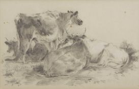 Attributed to Arthur James Stark (1831-1902), Cattle, pencil drawing, 20 x 32cm
