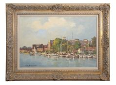 •AR Kevin B Thompson (born 1950), Oulton Broad, oil on board, signed lower left, 50 x 75cm