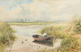 George Parsons Norman (1840-1914), Broadland landscape with figure in a boat, watercolour, signed