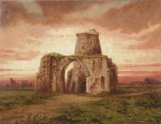 Arthur Dale Ventnor (1829-1884), St Benet's Abbey, oil on canvas, initialled lower right, 34 x 44cm,