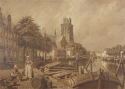 "Robert Bagge Scott (1849-1925) ""Dordrecht Tower"", oil on board, signed to barrel lower left, 32 x"