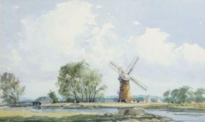 "Graham Howlett (20th century), ""The Red Mill, Thurne"", watercolour, signed lower left, 32 x 52cm"