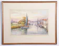 "•AR John Sutton (born 1935), ""Wherries by Bishops Bridge in 1900"", watercolour, signed lower"