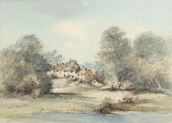 "•AR Arthur Edward Davies, RBA, RCA (1893-1988), ""Old cottages, Bawburgh"", pencil and watercolour,"