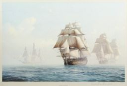"Derek M Gardner (1914-2007), ""Prelude to Trafalgar"", artist's coloured proof with publisher's"