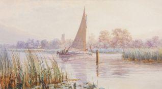 "Stephen John Batchelder (1849-1932), ""Golden Glow - Ranworth"", watercolour, signed lower centre,"