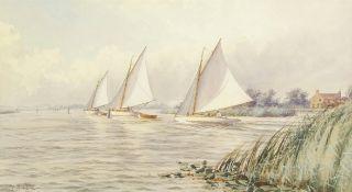 "Stephen John Batchelder (1849-1932), ""A fresh breeze - Hickling Broad"", watercolour, signed lower"