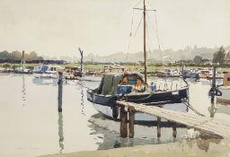 •AR Josiah Sturgeon, RSMA, RI, FRIBA (1919-1999), Boats in an estuary, watercolour, signed lower