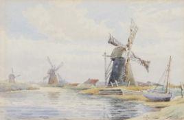 "William Leslie Rackham (1864-1944), ""Reedham Mill"" and ""Mills - North River"", pair of"