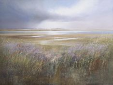•AR Michael J Sanders (born 1959), North Norfolk landscape, acrylic on canvas, signed lower right,