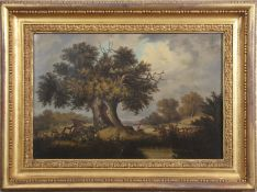 "Attributed to John Berney Ladbrooke (1803-1879), ""The Old Oak Tree"", oil on canvas, 43 x 65cm."