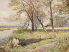"•AR Owen Waters (1916-2004), ""River Wensum, near Drayton, Norwich"", oil on board, signed lower right"