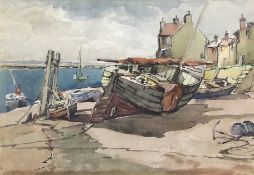 •AR Jack Cox (1914-2007), Fishing boats at Wells, pen ink and watercolour, 24 x 35cm