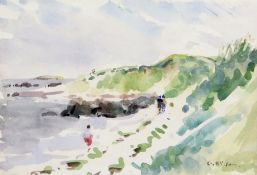 •AR Geoffrey Wilson (1920-2010), Coastal scene and landscape, pair of watercolours, both signed,