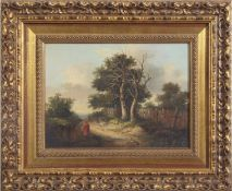 John Berney Ladbrooke (1803-1879), Figure in a landscape, oil on panel, 20 x 26cm