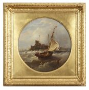John Moore of Ipswich (1820-1902), Harbour Entrance, oil on panel, signed lower centre, 30cm diam