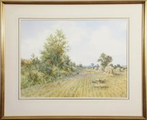 "•AR Colin W Burns (born 1944), ""Fledgling on the stubble"", watercolour, signed lower left, inscribed"