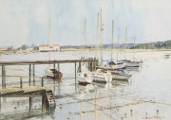 David Talks (contemporary), Boats in an estuary, watercolour, signed lower right, 31 x 44cm