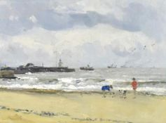 •AR Campbell Archibald Mellon, ROI, RBA, (1878-1955), Gorleston Beach, oil on panel, 22 x 30cm