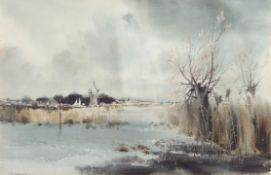 AR Leslie L Hardy Moore, RI (1907-1997) Broadland landscape with mill, watercolour, signed lower