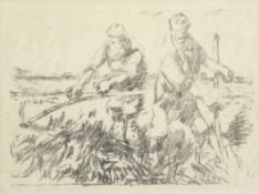 Harry Becker (1865-1928), Farm workers with scythes, black and white lithograph, 31 x 41cm
