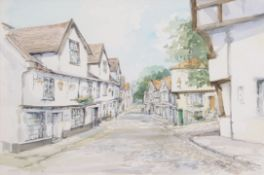 •AR Jason Partner, LSA (1922-2005), Pulls Ferry and Elm Hill, Norwich, pair of watercolours, both